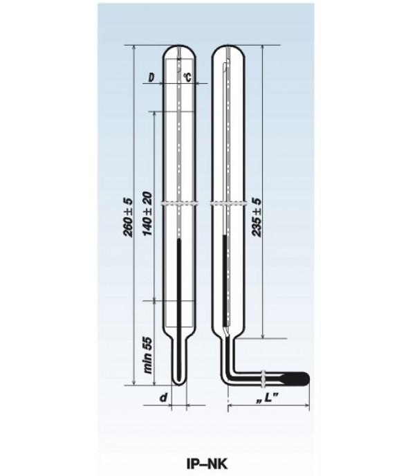 Ipari nagy könyök üveg hőmérő -30°+50°C/201mm