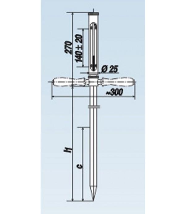 Széna-bála hőmérő fémtokos 0°+200°C/1500mm
