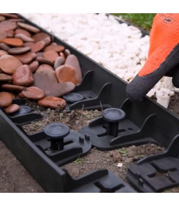 Hajlítható fekete műanyag ágyásszegély 4,5cm