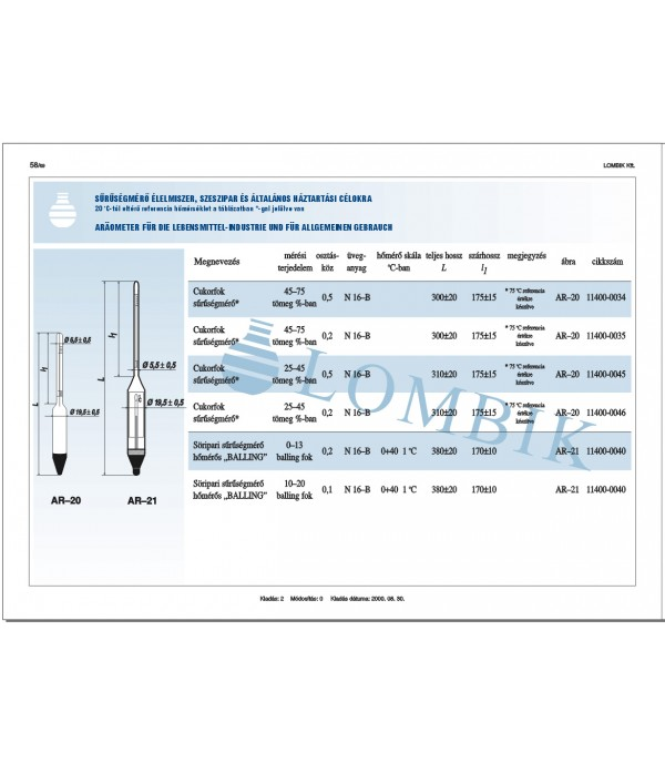 Cukorfok sűrűségmérő 25-45%/0,2