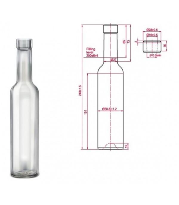 Pálinkás palack Bella 0,25L dugóval